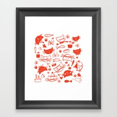 Cats In Red Framed Art Print