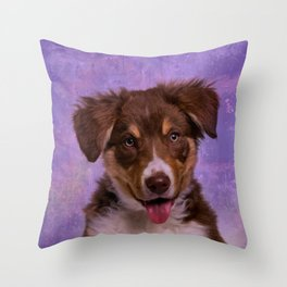 Border Collie Puppy Throw Pillow