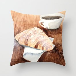 Croissant and Coffee Throw Pillow