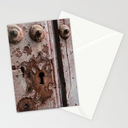 Vintage metal door with classic keyhole Stationery Cards