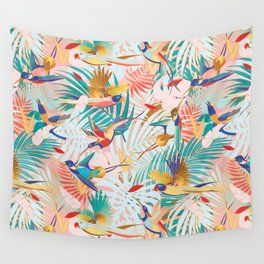 Colorful, Vibrant Paradise Birds and Leaves Wall Tapestry