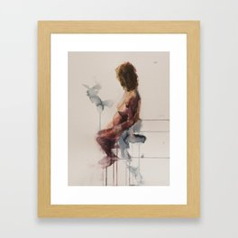 MA Seated, Watercolour Figure Painting  Framed Art Print
