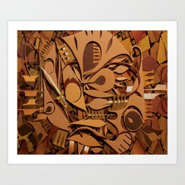 Burnt Umber Abstract Mosaic Art Print