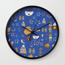 hygge cat and bird blue Wall Clock