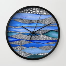 In the deep - abstract watercolour zentangle painting Wall Clock
