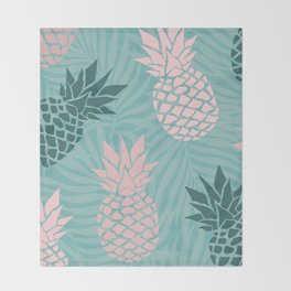 Tropical Pineapple and Palm Leaf Pattern, Teal and Pink Throw Blanket