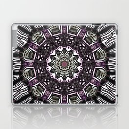 Mandala in black and white with hint of purple and green Laptop & iPad Skin