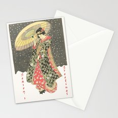 In the snow with an umbrella Stationery Cards