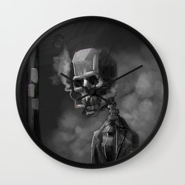 Noir Skeleton Digital Illustration Wall Clock