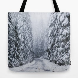 Snowy Oregon Forest Roads Tote Bag