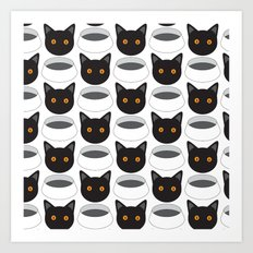 Cat Face & Bowl Art Print