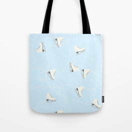 Ice Skating on Ice Blue Background Tote Bag