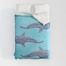 Whale Shark - pink and blue Comforters