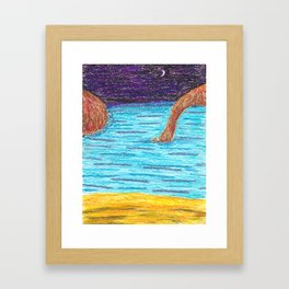 OilPastelBeach Framed Art Print