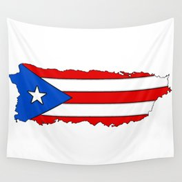 Puerto Rico Map with Puerto Rican Flag Wall Tapestry