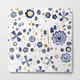 Indigo Flower Mashup Metal Print