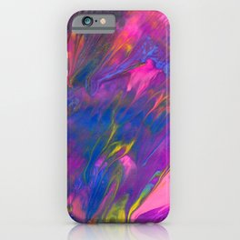 Lisa Frank Inspired Abstract Painting with Metallics - Pink, Purple, Yellow iPhone Case