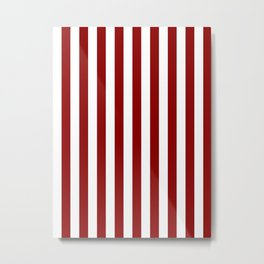Narrow Vertical Stripes - White and Dark Red Metal Print