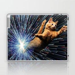 Cat Space vortex in galaxy attack speed of light Laptop & iPad Skin