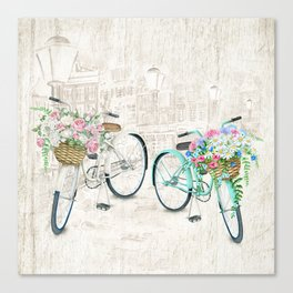 Vintage Bicycles With a City Background Canvas Print