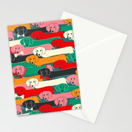 dachshund pattern- happy dogs Stationery Cards