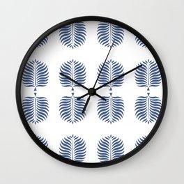 TROPICAL PALMS . WHITE + BLUE Wall Clock
