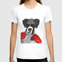 boxer T-shirts featuring Boxer by MsonArts