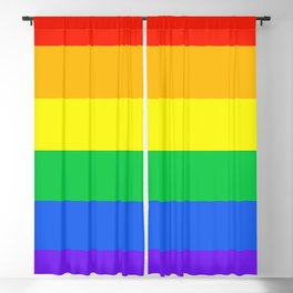 Rainbow Pride Horizontal Stripe Pattern Blackout Curtain