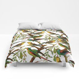 Colorful red green tropical birds parakeets pattern Comforters