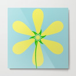 Flower Power - Blue Metal Print