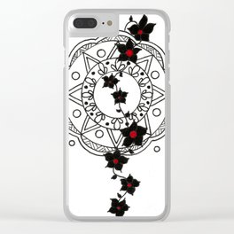 Red Dot Black Mandala Clear iPhone Case