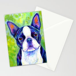 Colorful Boston Terrier Dog Stationery Cards