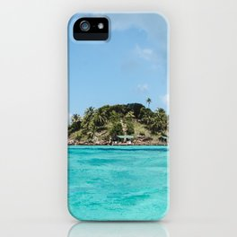 Turquoise water on paradise island of Crab Cay near Isla Providencia, Colombia, in the Caribbean Sea iPhone Case