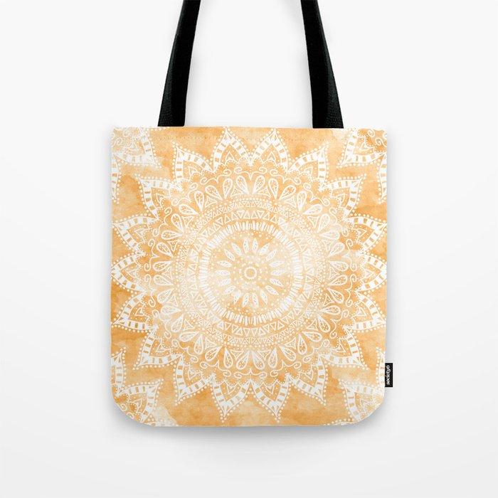 TANGERINE BOHO FLOWER MANDALA Tote Bag