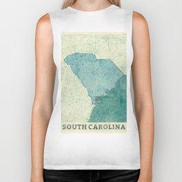 South Carolina State Map Blue Vintage Biker Tank
