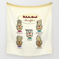 potato Wall Tapestries featuring Classic Potato-Head Hairstyles by Peter Gross