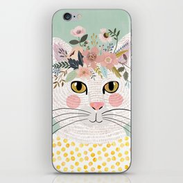 White flowers with floral crown iPhone Skin