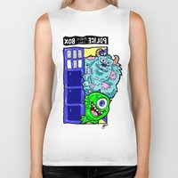 monsters inc Biker Tanks featuring Monsters in Time and Space! Doctor Who Meets Monsters Inc. University by beetoons