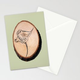 Devil Ray Wood Slice 2 Stationery Cards