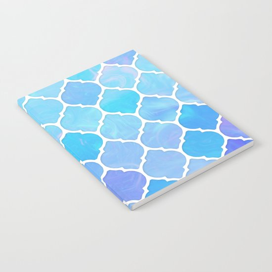 Blue and purple glass Moroccan print Notebook