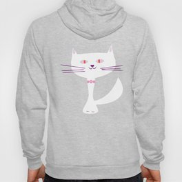 cool white cat Hoody