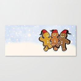 Dancing Gingerbread Men Canvas Print