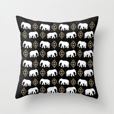 Elephant modern pattern print black gold glitter minimal with tribal influence gender neutral Throw Pillow
