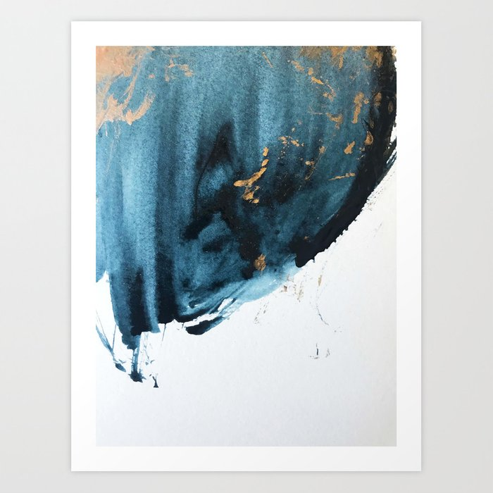 A Minimal Sapphire and Gold Abstract piece in blue white and gold by Alyssa Hamilton Art  Art Print