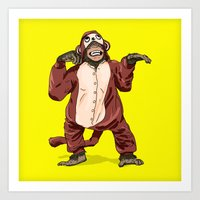 onesie Art Prints featuring Monkey Onesie by Alex Terry