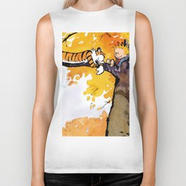 calvin and hobbes sleep Biker Tank