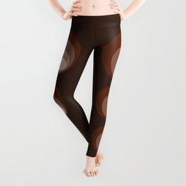Retro Circles Brown Rust Taupe Cream Leggings
