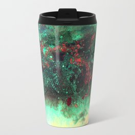 """Titan"" Mixed media on canvas, abstract painting design, contemporary artist green red black yellow Travel Mug"