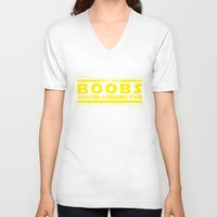 boob V-neck T-shirts featuring Boob Trick by geekchic