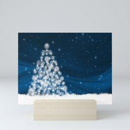 Blue Christmas Eve Snowflakes Winter Holiday Mini Art Print